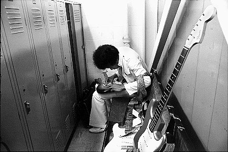 Jimi Hendrix in the dressing room at the Singer Bowl, New York, 1968.